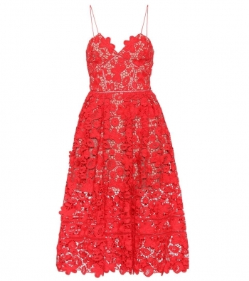 Lace red dress with bustie
