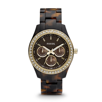 Stella Multifunction Resin Watch - Tort with Gold-Tone