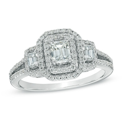 1 CT. T.W. Emerald-Cut Diamond Double Frame Past Present Future Ring in 14K White Gold