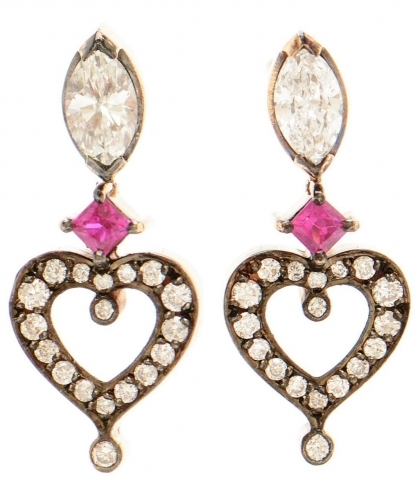 Heart 18k Rose Gold, Ruby and Diamond Earrings