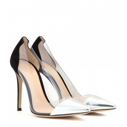 Metallic leather and transparent pumps