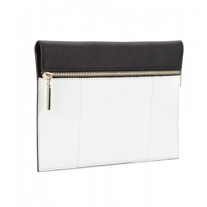 Zip Small lizard leather clutch