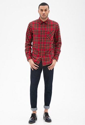 Plaid Flannel Collared Shirt