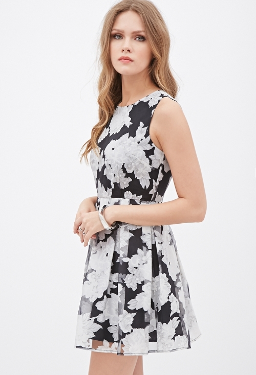 Pleated Floral Organza Dress